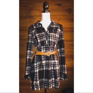 FREE PEOPLE Plaid Half Buttoned Tunic Blouse